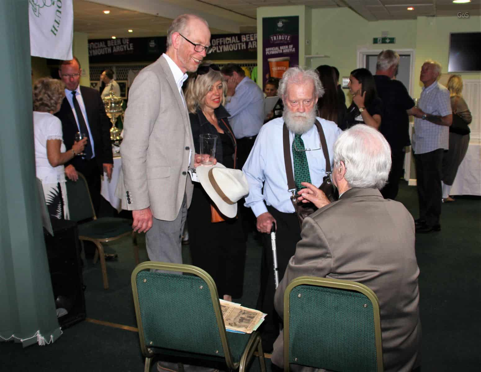 Local historian Chris Robinson and father Des catch up with Graham Little