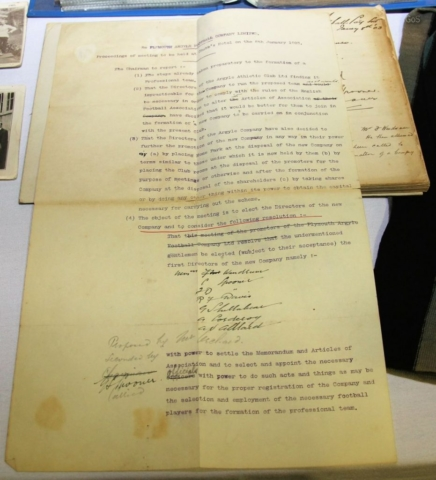 A prize exhibit: the minutes of the meeting when Plymouth Argyle became a professional club in 1903