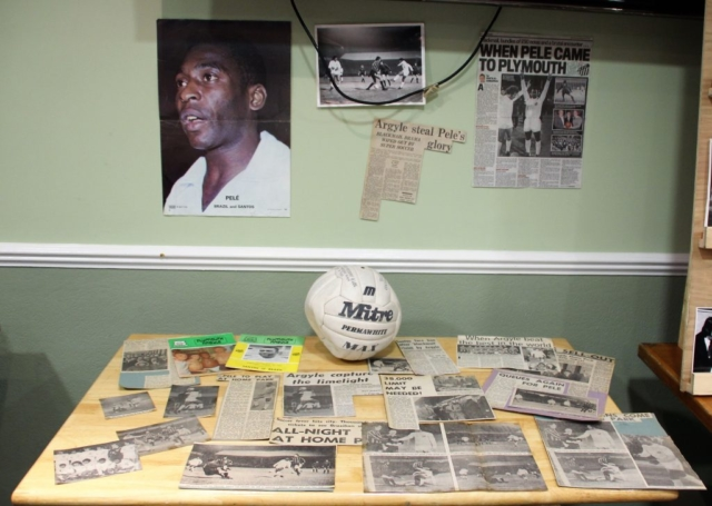 Amongst the items on display, the actual ball used when Argyle played Santos, Pele and all, in March 1973