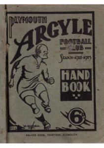 Plymouth Argyle Handbook Cover 1922-23